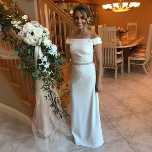 Ivory off the shoulder gown
